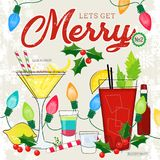 Let's Get Merry Series of Retro Style Cocktails with Holiday Decor royalty free illustration