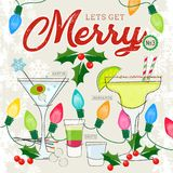 Let's Get Merry Series of Retro Style Cocktails with Holiday Decor stock illustration