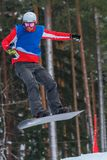 Letónia, cidade Cesis, inverno, campeonato do Snowboard, snowboarder, Imagens de Stock Royalty Free