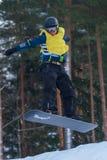 Letónia, cidade Cesis, inverno, campeonato do Snowboard, snowboarder, Fotografia de Stock Royalty Free