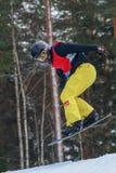 Letónia, cidade Cesis, inverno, campeonato do Snowboard, snowboarder, Fotos de Stock Royalty Free