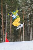 Letónia, cidade Cesis, inverno, campeonato do Snowboard, snowboarder, Foto de Stock Royalty Free