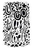 Let идет доверять иллюстрации вектора вселенной Вдохновляющая цитата плакат оформления каллиграфии черно-белый покрывать краской, бесплатная иллюстрация