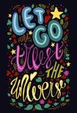 Let идет доверять иллюстрации растра вселенной Вдохновляющая цитата плакат оформления каллиграфии красочная яркая литерность, h иллюстрация штока