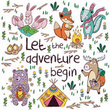 Let the adventure begin. Hand drawn camping illustration, cartoon style Royalty Free Stock Images