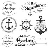 Let adventure begin. Set of travel labels. Anchors. Vector label templates Stock Images
