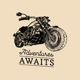 Let the adventures begin inspirational poster.Vector hand drawn motorcycle for MC sign,label. Vintage bike illustration. Let the adventures begin inspirational stock illustration