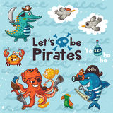 Let is be pirates. Pirate illustration with crocodile, octopus, shark Royalty Free Stock Photography
