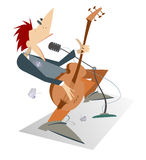 Let be where rock. Cartoon man is playing guitar isolated Royalty Free Stock Image