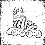 Let es va en tipografía de los rodillos Diseño del logotipo de la etiqueta del patín de ruedas Imagen de archivo