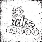 Let est vont sur la typographie de rouleaux Conception de logo de label de patin de rouleau Image stock
