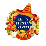 Let fiesta party, Mexican Cinco de Mayo holiday. Cinco de Mayo greeting quote, Let Fiesta Party Mexican holiday poster. Vector Cinco de Mayo celebration food and royalty free illustration