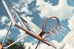 Let the game begin. Shot of basketball hoop with sky in the background outdoors royalty free stock photography