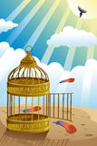 Let it go or freedom concept. A vector illustration of releasing bird from the cage for let it go or freedom concept Royalty Free Stock Photography