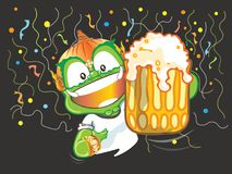 Let go to party say cheers and showing beer Thai giant cartoon Stock Photo