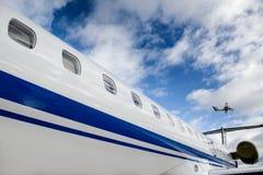 Let l-410 and Embraer ERJ 145. Flying Let l-410 and Embraer ERJ 145 Royalty Free Stock Image