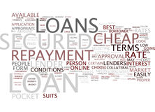 Let The Loans Fit In Your Pocket With Cheap Secured Loan Text Background  Word Cloud Concept Stock Photo