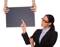 Let me demonstrate on the chalkboard Stock Photography