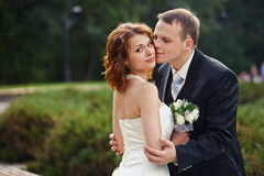 Let me kiss you - groom holds a bride in a park. A Royalty Free Stock Images