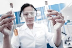 Female professional comparing chemical liquids in test tubes. Let me see. Selective focus on two test tubes containing chemical liquids held by a mature lady in stock photos