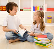 Let Me Tell You About School Little Sister Royalty Free Stock Image