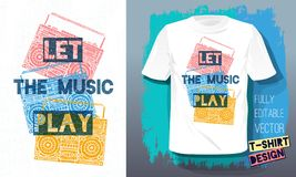 Let the music play lettering slogan retro sketch style tape cassette recorder for t shirt design print posters kids boys girls. Hand drawn vector illustration vector illustration