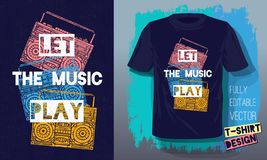 Let the music play lettering slogan retro sketch style tape cassette recorder for t shirt design print posters kids boys girls. Hand drawn vector illustration stock illustration
