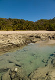 Let op de ertsader voor het strand stock afbeeldingen