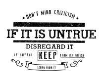 Let op geen kritiek Als het onwaar is, negeer het; als oneerlijk, houd van irritatie; leer van het royalty-vrije illustratie