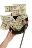 Let op het geld komen uit mijn hoed Stock Foto's