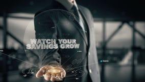 Let op Uw Besparingen groeien met het concept van de hologramzakenman royalty-vrije illustratie
