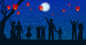 Let people silhouette sky lanterns Royalty Free Stock Photo