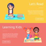 Let Read Learning Kids Banners with Schoolchildren Royalty Free Stock Photo