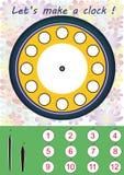 let& x27; s做一个时钟,孩子的活页练习题 免版税库存照片
