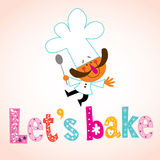Let's bake decorative type with chef character Stock Photography