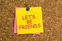 Free Let`s Be Friends Post It Royalty Free Stock Photo - 177328315
