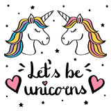 Let s be unicorns hand writing text with pair of unicorn drawing isolated on white