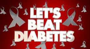 Let`s Beat Diabetes Awareness Campaign. Let`s Beat Diabetes Awareness Ribbons Fight Disease Campaign Stock Photography