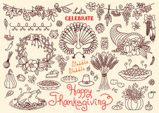 Let's celebrate Happy Thanksgiving doodles set Royalty Free Stock Photography