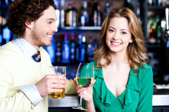Let's celebrate. Young couple - man and woman Royalty Free Stock Photos