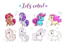 Let s color pony. Funny cute cartoon little chibi horses, colorful and contour pictures. stock illustration