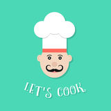 Let`s cook lettering with chef Royalty Free Stock Image