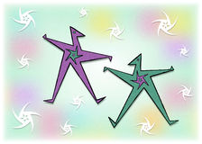 Let's Dance A1. Graphic design of two stylized characters dancing in soft colors and swirling fun energy Stock Photo