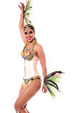 Let's dance with me !. Beautiful woman posing in carnival costume over white Stock Photography
