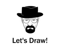 Let's draw man in a hat with beard Royalty Free Stock Photography