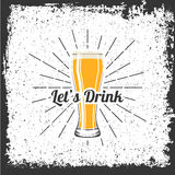 Let`s Drink - Glass of Beer. Vector Illustration Stock Image
