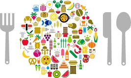 Let's eat!. Food and beverage icons in form sphere with silverware Stock Image