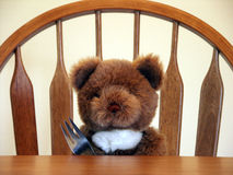 Let's Eat. Teddy bear, ready to eat Royalty Free Stock Images