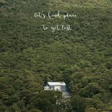 Let s find place to get lost on landscape view with a house. Let s find place to get lost. Inspirational quote on landscape view with a house on Lantau island stock image