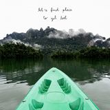 Let s find place to get lost with mountains view. Let s find place to get lost. Inspirational quote with mountains view at Khao Sok National Park in Surattani royalty free stock photography